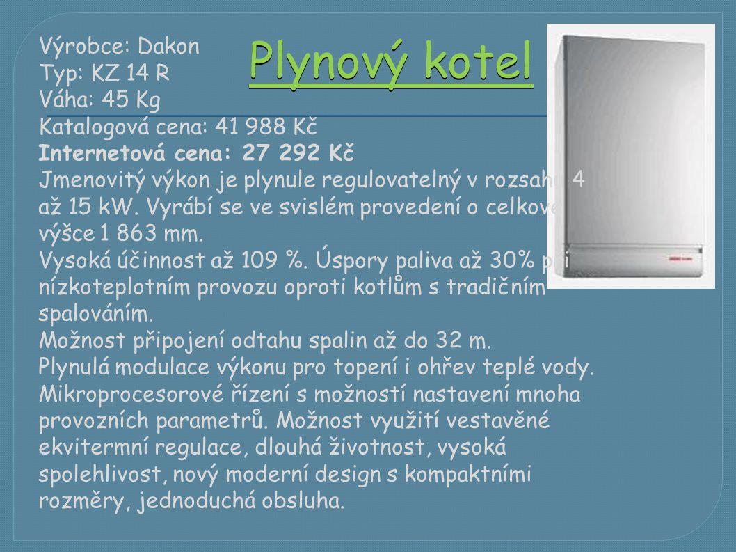 Plynový kotel Výrobce: Dakon Typ: KZ 14 R Váha: 45 Kg Katalogová cena: 41 988 Kč Internetová cena: 27 292 Kč Jmenovitý výkon je plynule regulovatelný