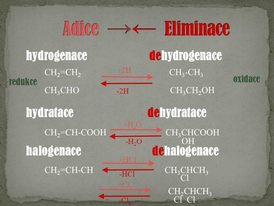 hydrogenace dehydrogenace hydratace dehydratace halogenace dehalogenace CH 2 =CH 2 CH 3 -CH 3 CH 3 CHO CH 3 CH 2 OH CH 2 =CH-COOH CH 3 CHCOOH OH CH 2