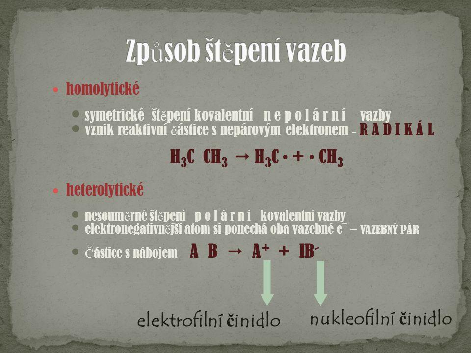 homolytické symetrické št ě pení kovalentní n e p o l á r n í vazby vznik reaktivní č ástice s nepárovým elektronem – R A D I K Á L H 3 C  CH 3  H 3