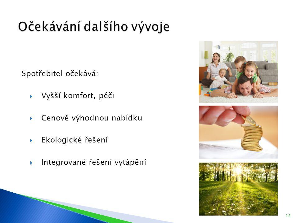 Spotřebitel očekává:  Vyšší komfort, péči  Cenově výhodnou nabídku  Ekologické řešení  Integrované řešení vytápění 13