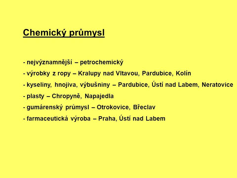 Chemický průmysl - nejvýznamnější – petrochemický - výrobky z ropy – Kralupy nad Vltavou, Pardubice, Kolín - kyseliny, hnojiva, výbušniny – Pardubice,