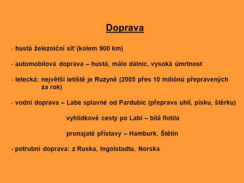 Doprava - hustá železniční síť (kolem 900 km) - automobilová doprava – hustá, málo dálnic, vysoká úmrtnost - letecká: největší letiště je Ruzyně (2005
