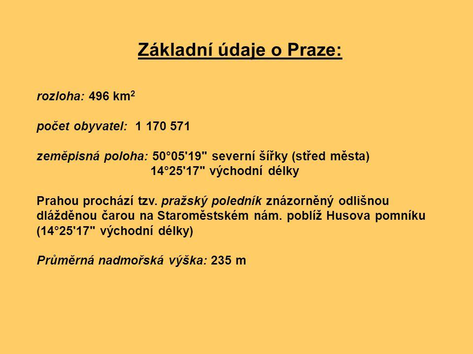 Základní údaje o Praze: rozloha: 496 km 2 počet obyvatel: 1 170 571 zeměpisná poloha: 50°05'19