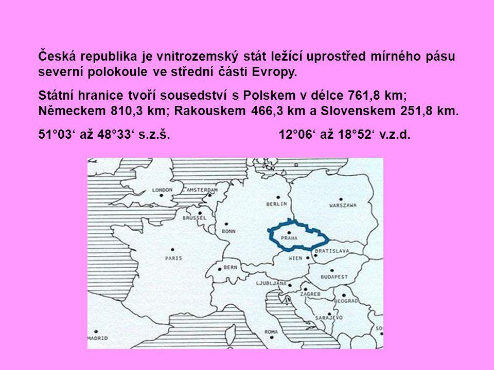 Česká republika je vnitrozemský stát ležící uprostřed mírného pásu severní polokoule ve střední části Evropy. Státní hranice tvoří sousedství s Polske