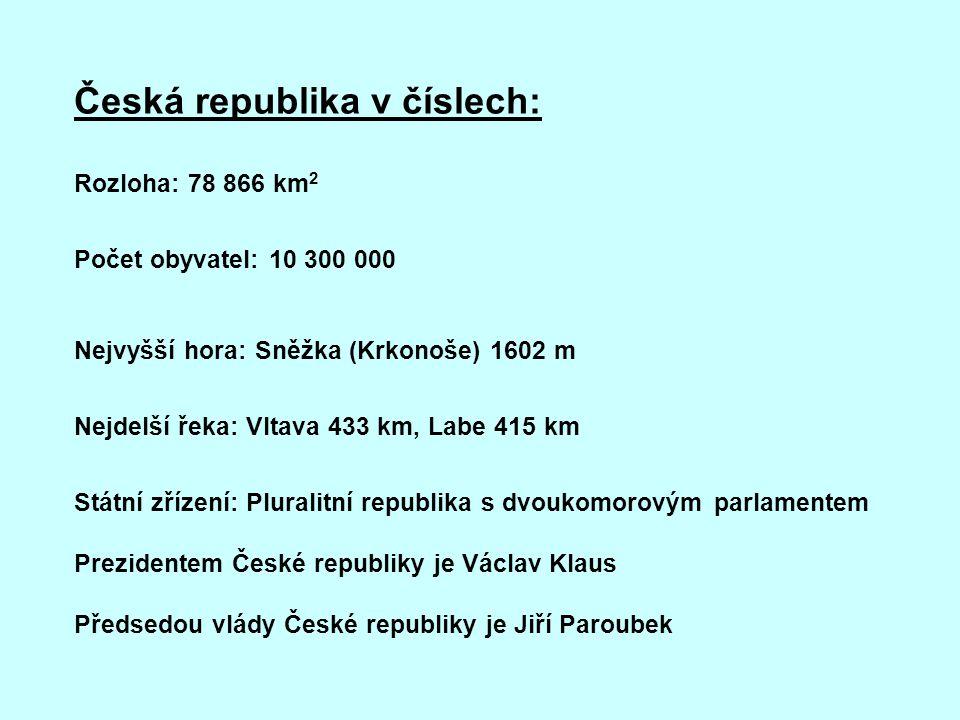 Česká republika v číslech: Rozloha: 78 866 km 2 Počet obyvatel: 10 300 000 Nejvyšší hora: Sněžka (Krkonoše) 1602 m Nejdelší řeka: Vltava 433 km, Labe