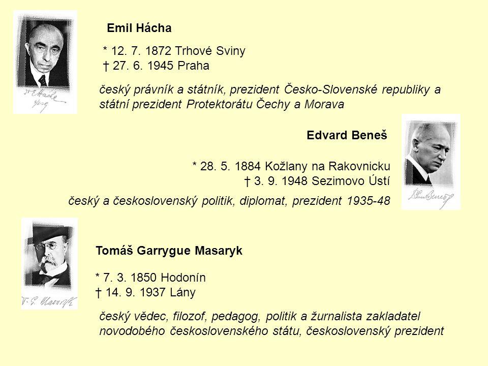 Emil Hácha * 12. 7. 1872 Trhové Sviny † 27. 6. 1945 Praha český právník a státník, prezident Česko-Slovenské republiky a státní prezident Protektorátu
