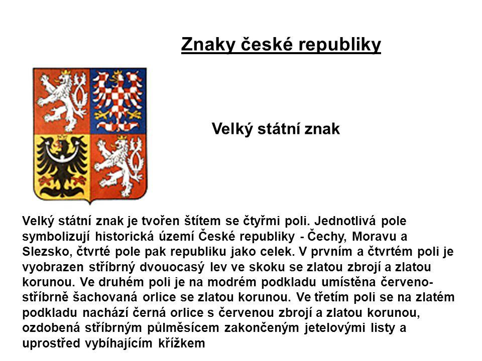 Velký státní znak je tvořen štítem se čtyřmi poli. Jednotlivá pole symbolizují historická území České republiky - Čechy, Moravu a Slezsko, čtvrté pole