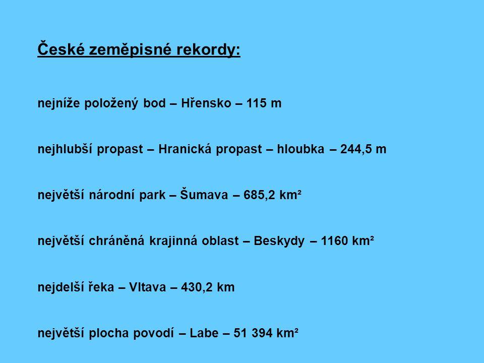 České zeměpisné rekordy: nejníže položený bod – Hřensko – 115 m nejhlubší propast – Hranická propast – hloubka – 244,5 m největší národní park – Šumav