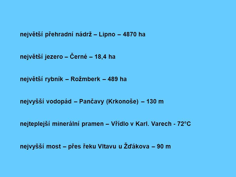 největší přehradní nádrž – Lipno – 4870 ha největší jezero – Černé – 18,4 ha největší rybník – Rožmberk – 489 ha nejvyšší vodopád – Pančavy (Krkonoše)