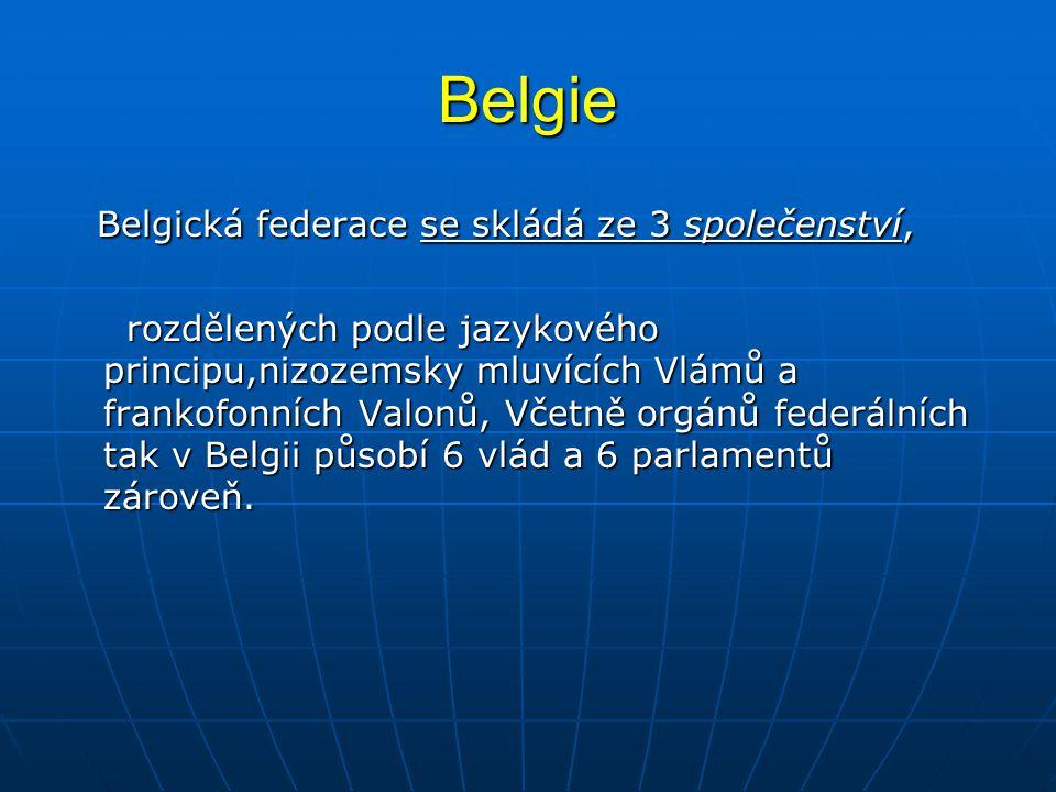 Belgie Belgická federace se skládá ze 3 společenství, Belgická federace se skládá ze 3 společenství, rozdělených podle jazykového principu,nizozemsky mluvících Vlámů a frankofonních Valonů, Včetně orgánů federálních tak v Belgii působí 6 vlád a 6 parlamentů zároveň.