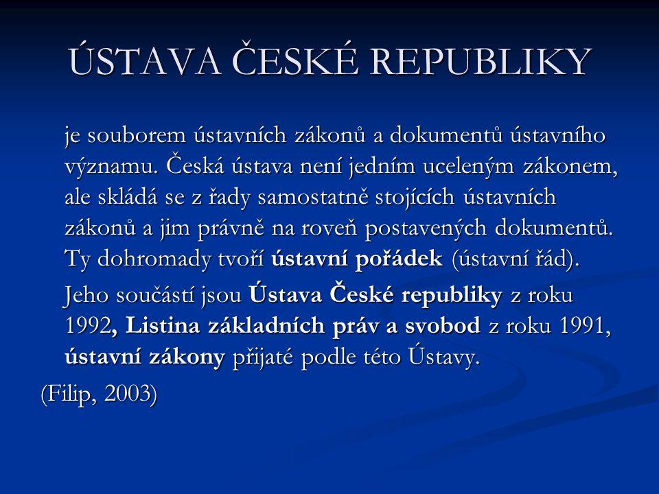 ÚSTAVA ČESKÉ REPUBLIKY je souborem ústavních zákonů a dokumentů ústavního významu. Česká ústava není jedním uceleným zákonem, ale skládá se z řady sam