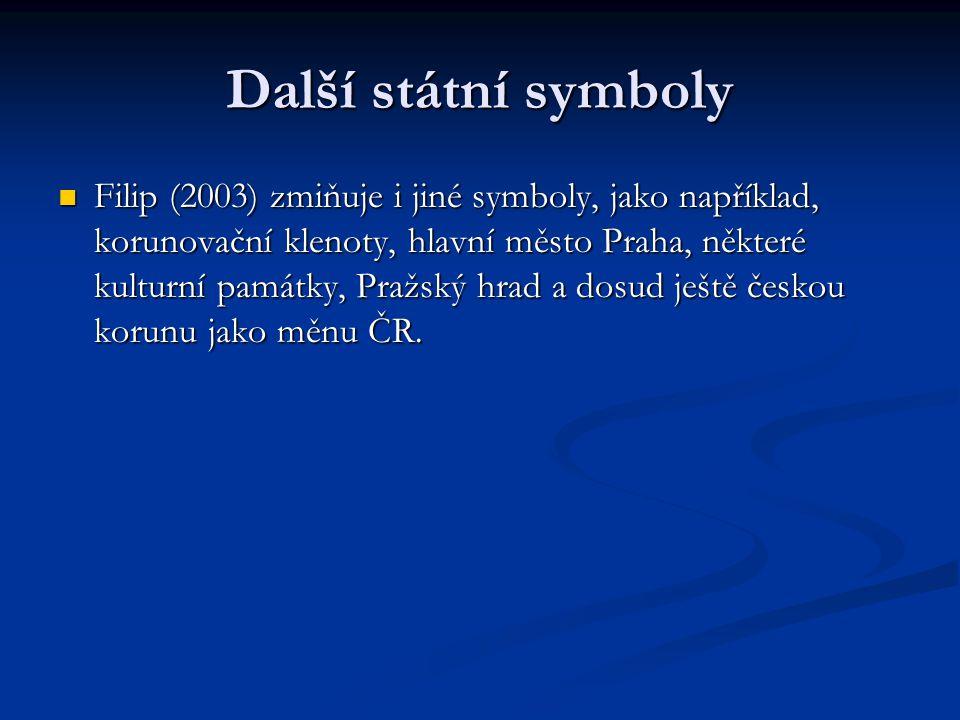Další státní symboly Filip (2003) zmiňuje i jiné symboly, jako například, korunovační klenoty, hlavní město Praha, některé kulturní památky, Pražský h