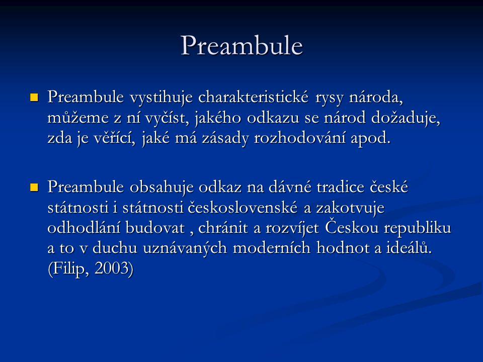 Preambule Preambule vystihuje charakteristické rysy národa, můžeme z ní vyčíst, jakého odkazu se národ dožaduje, zda je věřící, jaké má zásady rozhodo