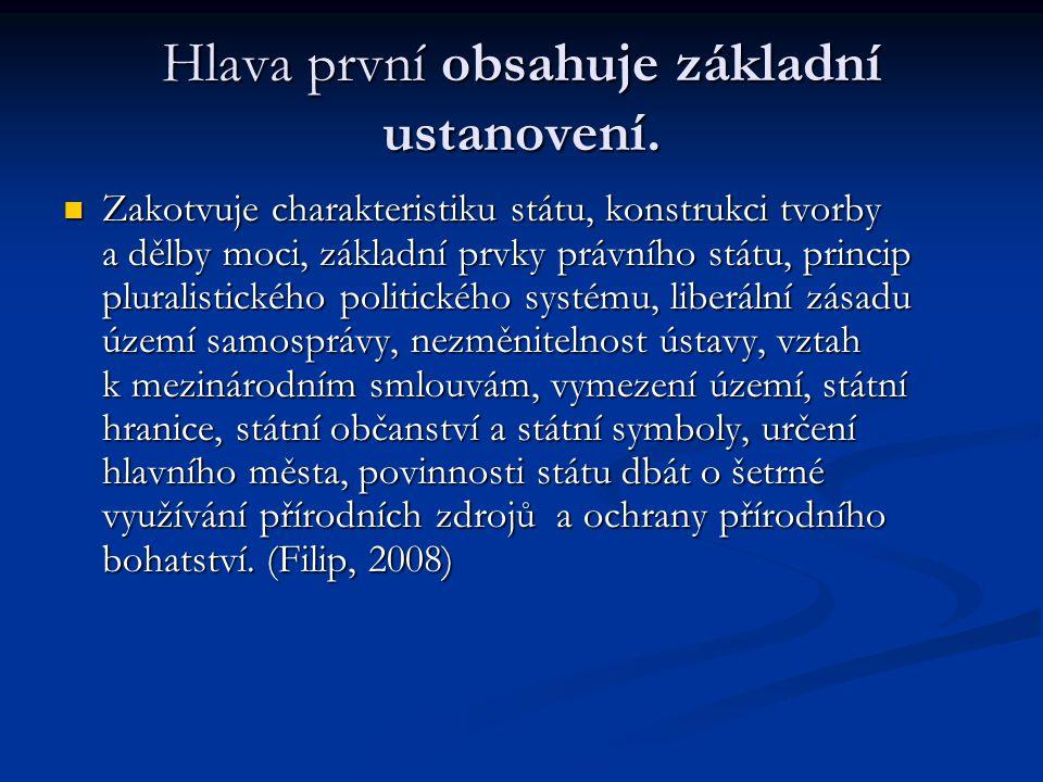 Hlava první obsahuje základní ustanovení. Zakotvuje charakteristiku státu, konstrukci tvorby a dělby moci, základní prvky právního státu, princip plur