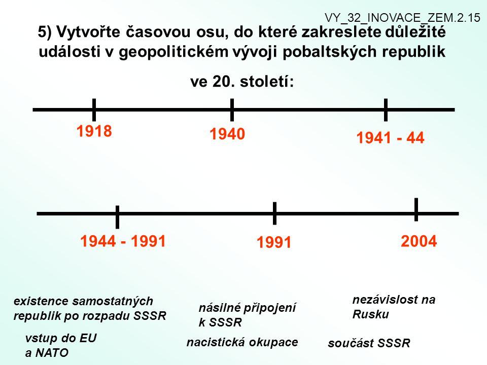5) Vytvořte časovou osu, do které zakreslete důležité události v geopolitickém vývoji pobaltských republik ve 20. století: existence samostatných repu