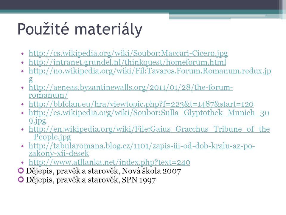 Použité materiály http://cs.wikipedia.org/wiki/Soubor:Maccari-Cicero.jpg http://intranet.grundel.nl/thinkquest/homeforum.html http://no.wikipedia.org/