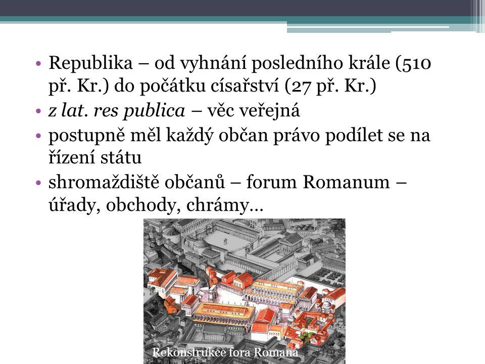 Republika – od vyhnání posledního krále (510 př. Kr.) do počátku císařství (27 př. Kr.) z lat. res publica – věc veřejná postupně měl každý občan práv