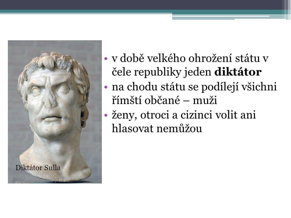 v době velkého ohrožení státu v čele republiky jeden diktátor na chodu státu se podílejí všichni římští občané – muži ženy, otroci a cizinci volit ani