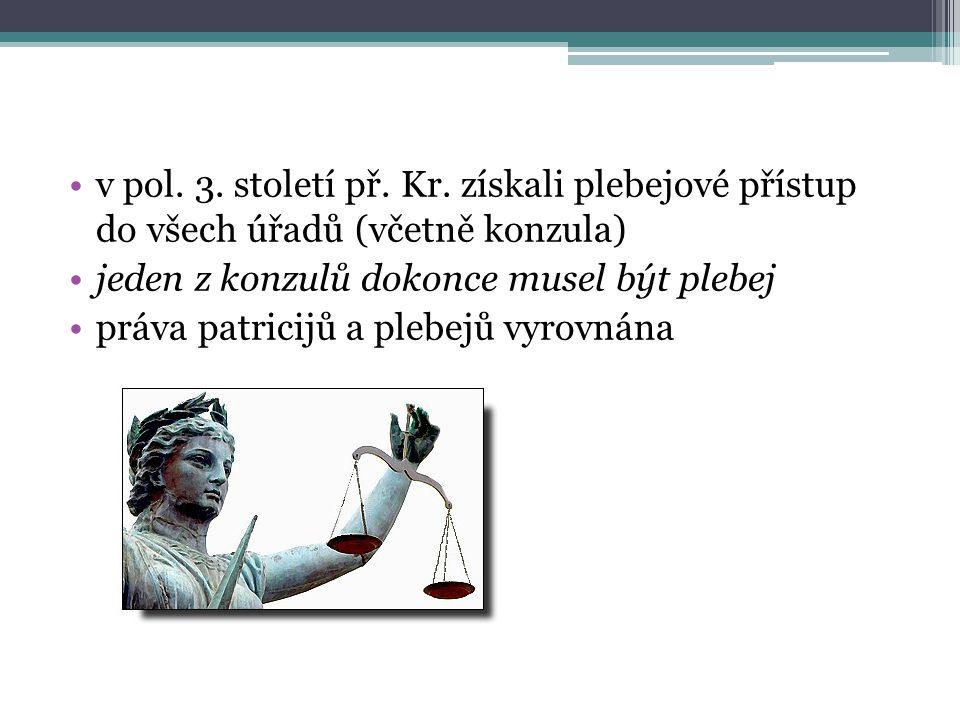 v pol. 3. století př. Kr. získali plebejové přístup do všech úřadů (včetně konzula) jeden z konzulů dokonce musel být plebej práva patricijů a plebejů