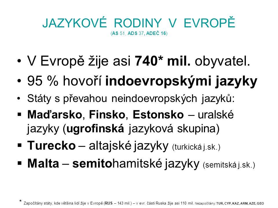 JAZYKOVÉ RODINY V EVROPĚ (AS 51, ADS 37, ADEČ 16) V Evropě žije asi 740* mil. obyvatel. 95 % hovoří indoevropskými jazyky Státy s převahou neindoevrop
