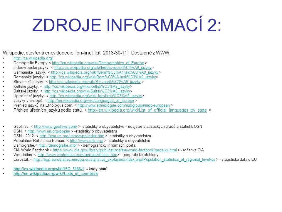 ZDROJE INFORMACÍ 2: Wikipedie, otevřená encyklopedie. [on-line]. [cit. 2013-30-11]. Dostupné z WWW: http://cs.wikipedia.org/ Demografie Evropy. http:/