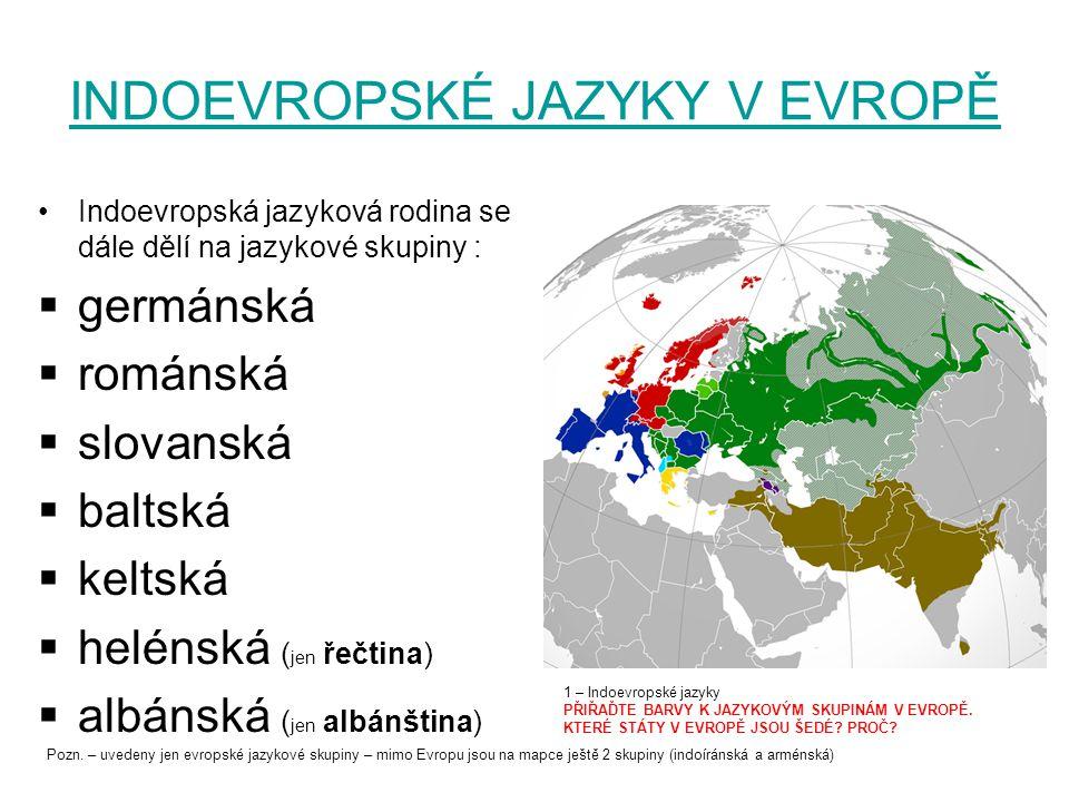 INDOEVROPSKÉ JAZYKY V EVROPĚ Indoevropská jazyková rodina se dále dělí na jazykové skupiny :  germánská  románská  slovanská  baltská  keltská 