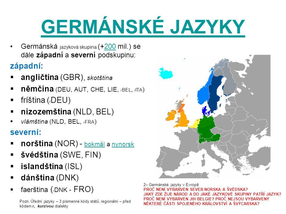 GERMÁNSKÉ JAZYKY Germánská jazyková skupina (+200 mil.) se dále západní a severní podskupinu:200 západní:  angličtina (GBR), skotština  němčina (DEU