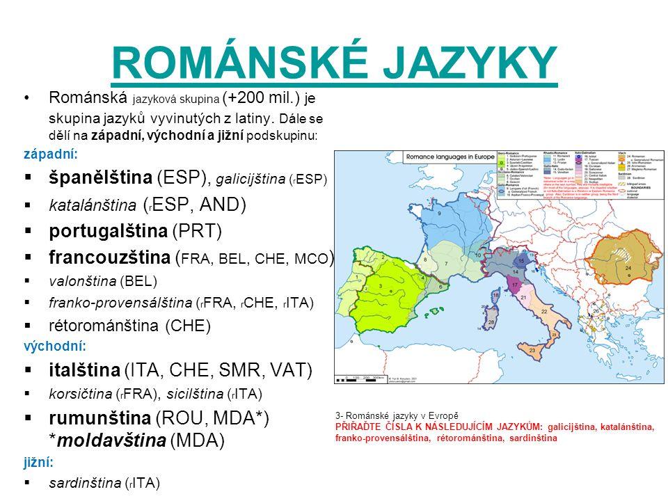 ROMÁNSKÉ JAZYKY Románská jazyková skupina (+200 mil.) je skupina jazyků vyvinutých z latiny. Dále se dělí na západní, východní a jižní podskupinu: záp