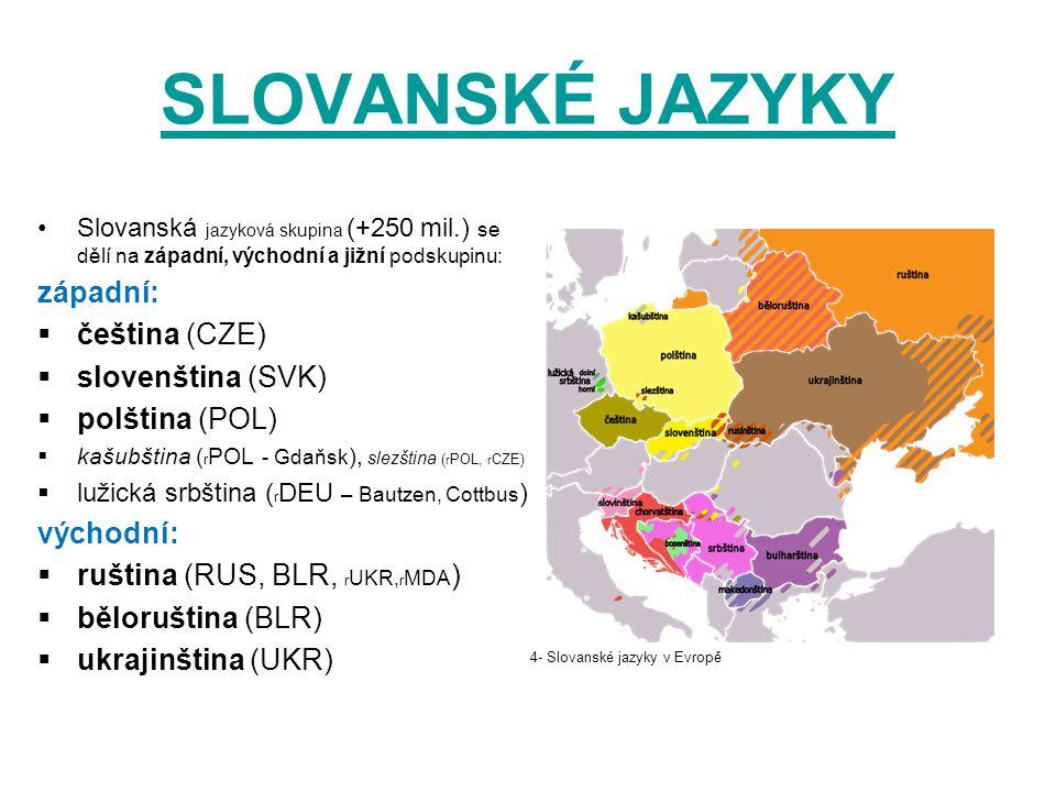 SLOVANSKÉ JAZYKY Slovanská jazyková skupina (+250 mil.) se dělí na západní, východní a jižní podskupinu: západní:  čeština (CZE)  slovenština (SVK)