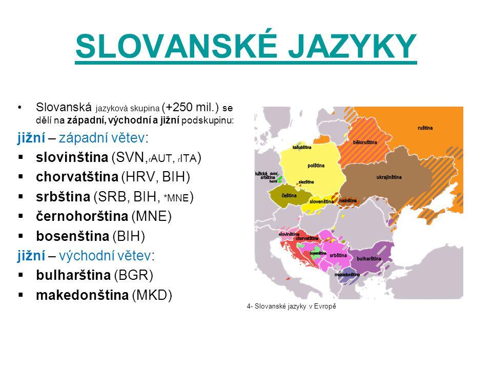 SLOVANSKÉ JAZYKY Slovanská jazyková skupina (+250 mil.) se dělí na západní, východní a jižní podskupinu: jižní – západní větev:  slovinština (SVN, r