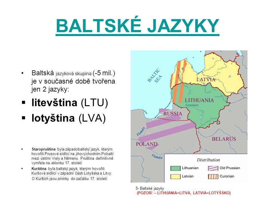 BALTSKÉ JAZYKY Baltská jazyková skupina (-5 mil.) je v současné době tvořena jen 2 jazyky:  litevština (LTU)  lotyština (LVA)  Staropruština byla z