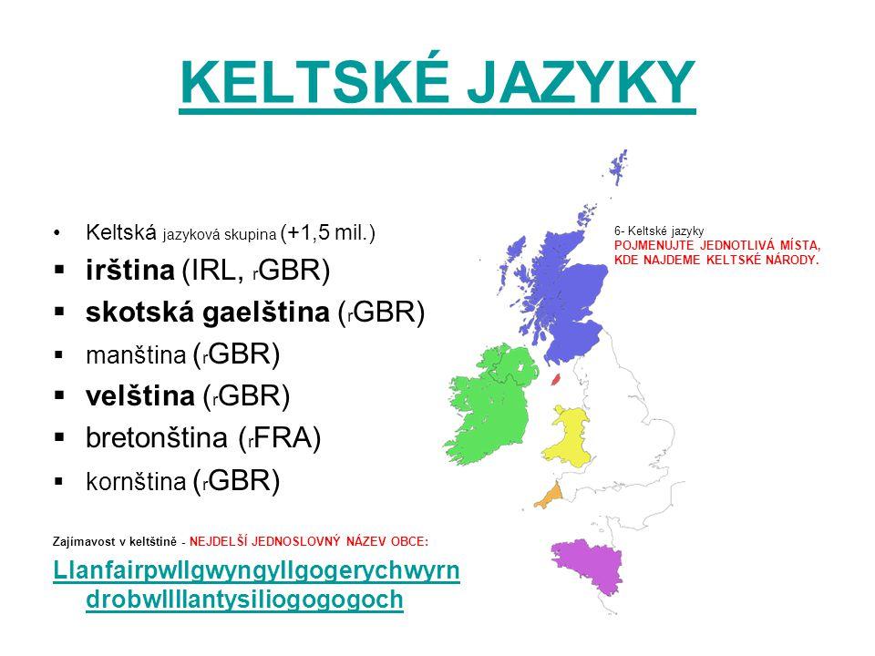 KELTSKÉ JAZYKY Keltská jazyková skupina (+1,5 mil.)  irština (IRL, r GBR)  skotská gaelština ( r GBR)  manština ( r GBR)  velština ( r GBR)  bret