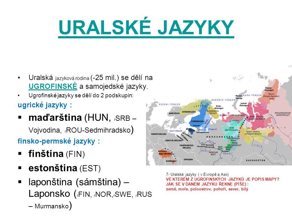 URALSKÉ JAZYKY Uralská jazyková rodina (-25 mil.) se dělí na UGROFINSKÉ a samojedské jazyky. UGROFINSKÉ Ugrofinské jazyky se dělí do 2 podskupin: ugri