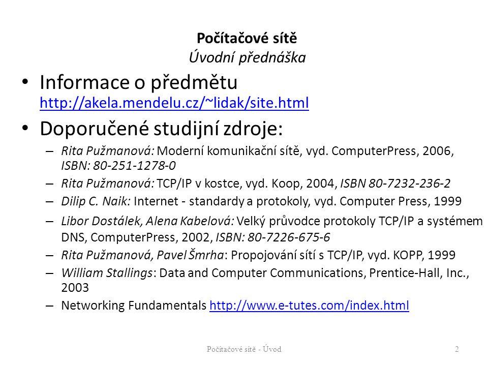 Počítačové sítě Úvodní přednáška Informace o předmětu http://akela.mendelu.cz/~lidak/site.html http://akela.mendelu.cz/~lidak/site.html Doporučené studijní zdroje: – Rita Pužmanová: Moderní komunikační sítě, vyd.