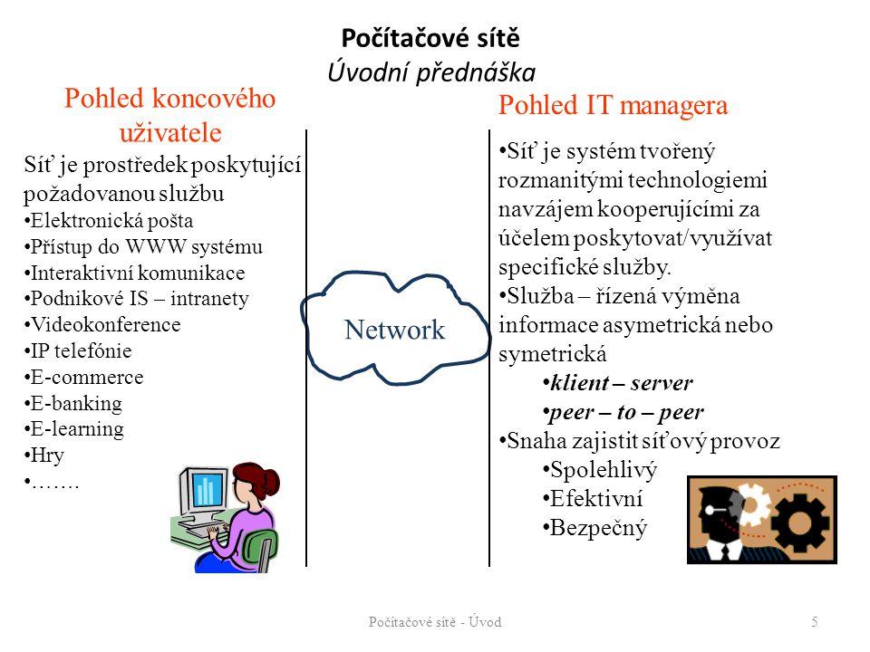 Počítačové sítě Úvodní přednáška Počítačové sítě - Úvod5 Network Pohled koncového uživatele Síť je prostředek poskytující požadovanou službu Elektronická pošta Přístup do WWW systému Interaktivní komunikace Podnikové IS – intranety Videokonference IP telefónie E-commerce E-banking E-learning Hry …….