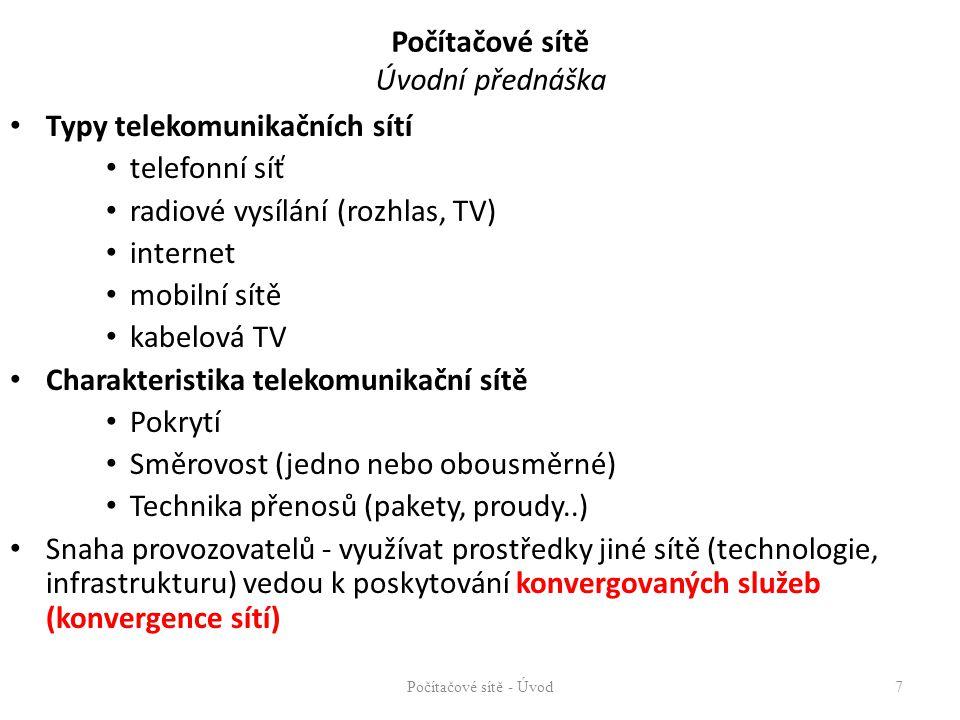 Počítačové sítě Úvodní přednáška Typy telekomunikačních sítí telefonní síť radiové vysílání (rozhlas, TV) internet mobilní sítě kabelová TV Charakteri