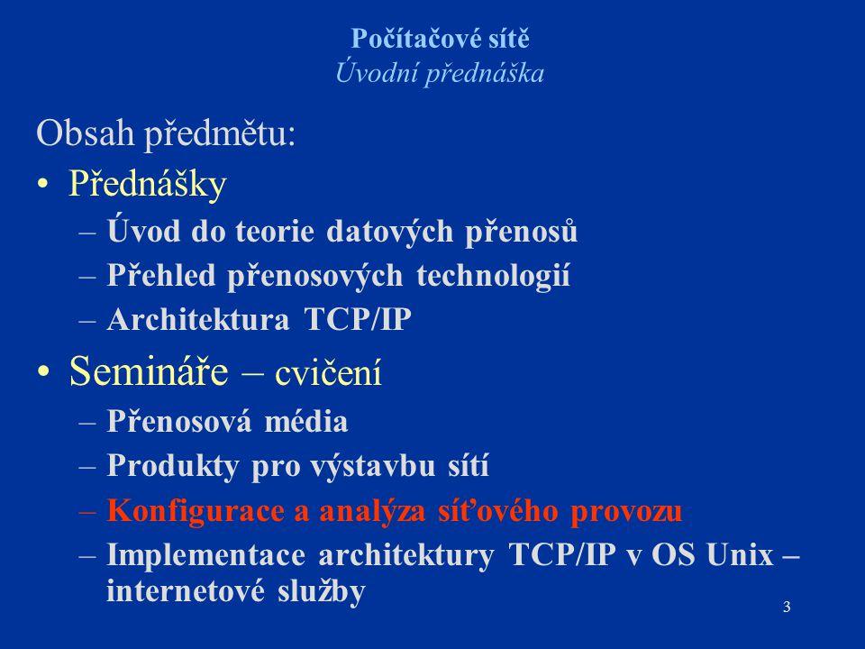 3 Počítačové sítě Úvodní přednáška Obsah předmětu: Přednášky –Úvod do teorie datových přenosů –Přehled přenosových technologií –Architektura TCP/IP Se