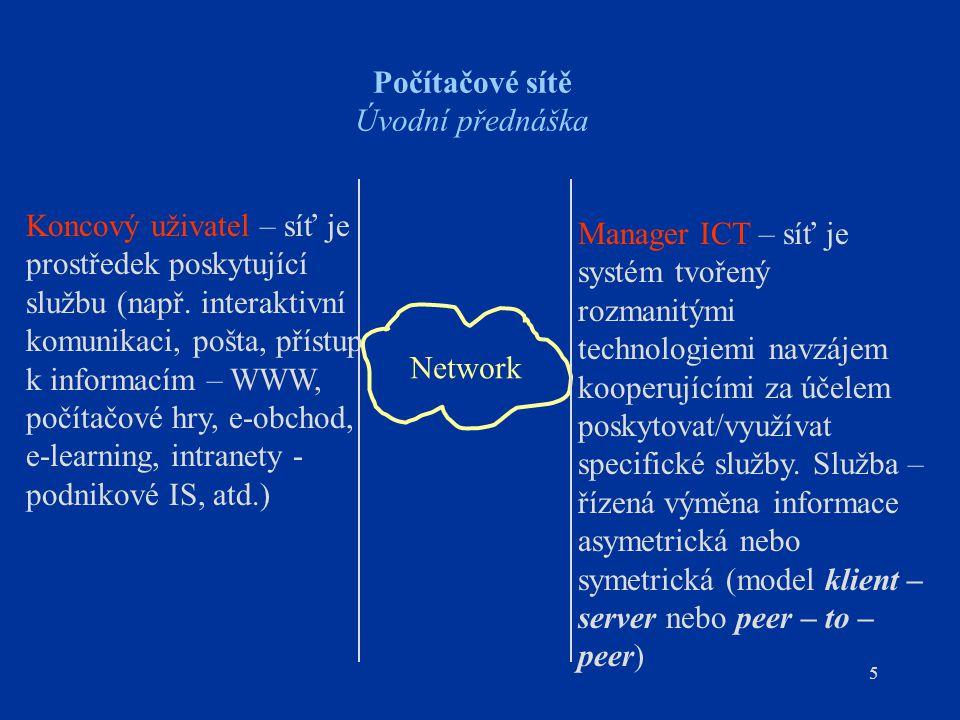 5 Počítačové sítě Úvodní přednáška Network Koncový uživatel – síť je prostředek poskytující službu (např. interaktivní komunikaci, pošta, přístup k in