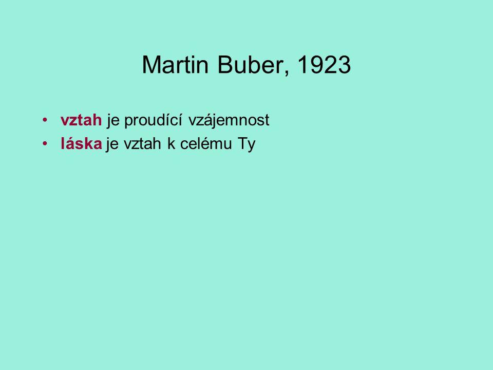 Martin Buber, 1923 vztah je proudící vzájemnost láska je vztah k celému Ty