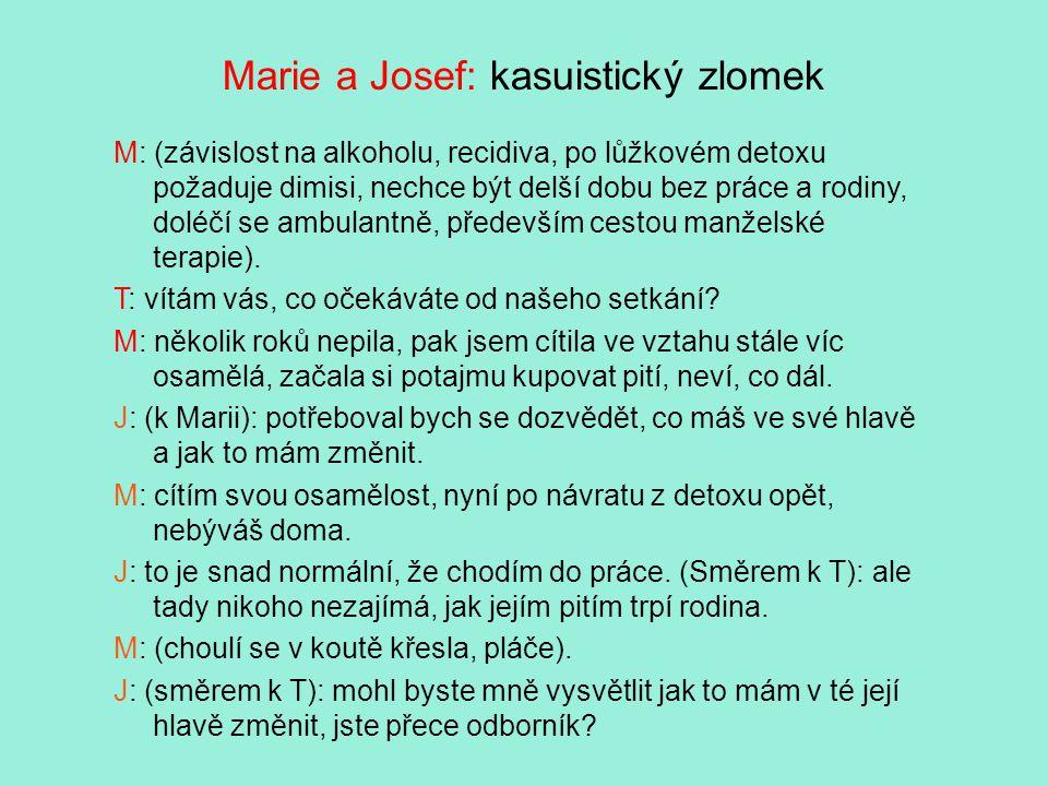 Marie a Josef: kasuistický zlomek M: (závislost na alkoholu, recidiva, po lůžkovém detoxu požaduje dimisi, nechce být delší dobu bez práce a rodiny, doléčí se ambulantně, především cestou manželské terapie).