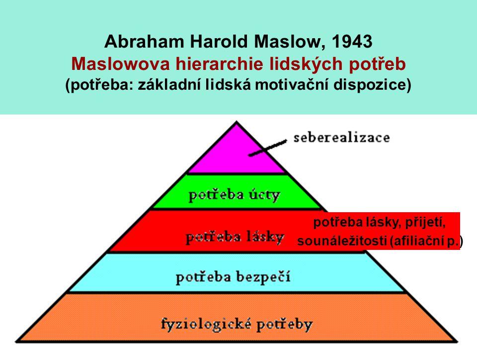 Abraham Harold Maslow, 1943 Maslowova hierarchie lidských potřeb (potřeba: základní lidská motivační dispozice) potřeba lásky, přijetí, sounáležitosti (afiliační p.)