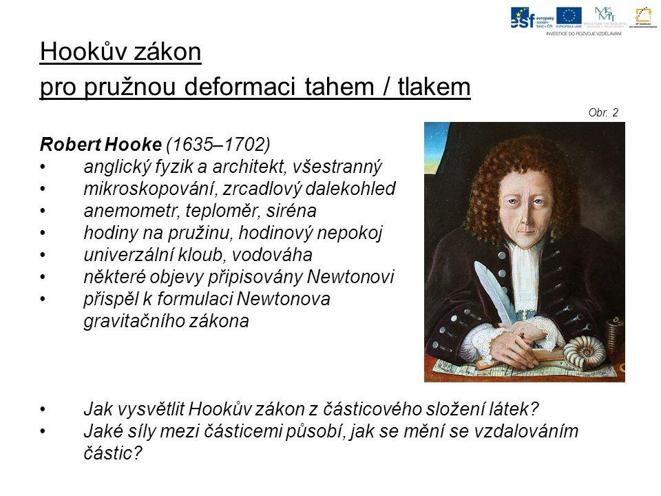 Hookův zákon pro pružnou deformaci tahem / tlakem Robert Hooke (1635–1702) anglický fyzik a architekt, všestranný mikroskopování, zrcadlový dalekohled anemometr, teploměr, siréna hodiny na pružinu, hodinový nepokoj univerzální kloub, vodováha některé objevy připisovány Newtonovi přispěl k formulaci Newtonova gravitačního zákona Jak vysvětlit Hookův zákon z částicového složení látek.