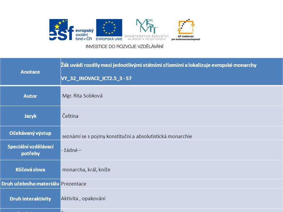 Anotace Žák uvádí rozdíly mezi jednotlivými státními zřízeními a lokalizuje evropské monarchy VY_32_INOVACE_ICT2.5_3 - 57 Autor Mgr.