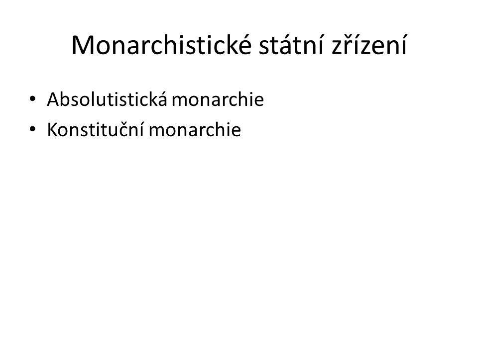 Monarchistické státní zřízení Absolutistická monarchie Konstituční monarchie