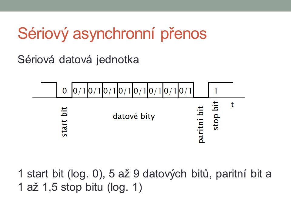 Sériový asynchronní přenos Start bit – pokles z vysoké úrovně na 0, indikuje začátek přenosu Paritní bity – jednoduchý, ale málo výkonný způsob ochrany proti chybám Stop bit – konec datové jednotky, úroveň 1 Otázka: Jaké jsou typy parity