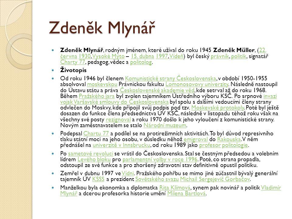 Zdeněk Mlynář Zdeněk Mlynář, rodným jménem, které užíval do roku 1945 Zdeněk Müller, (22. června 1930, Vysoké Mýto – 15. dubna 1997, Vídeň) byl český