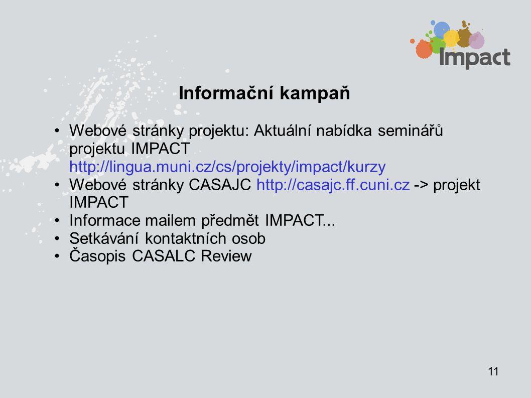 11 Informační kampaň Webové stránky projektu: Aktuální nabídka seminářů projektu IMPACT http://lingua.muni.cz/cs/projekty/impact/kurzy Webové stránky CASAJC http://casajc.ff.cuni.cz -> projekt IMPACT Informace mailem předmět IMPACT...