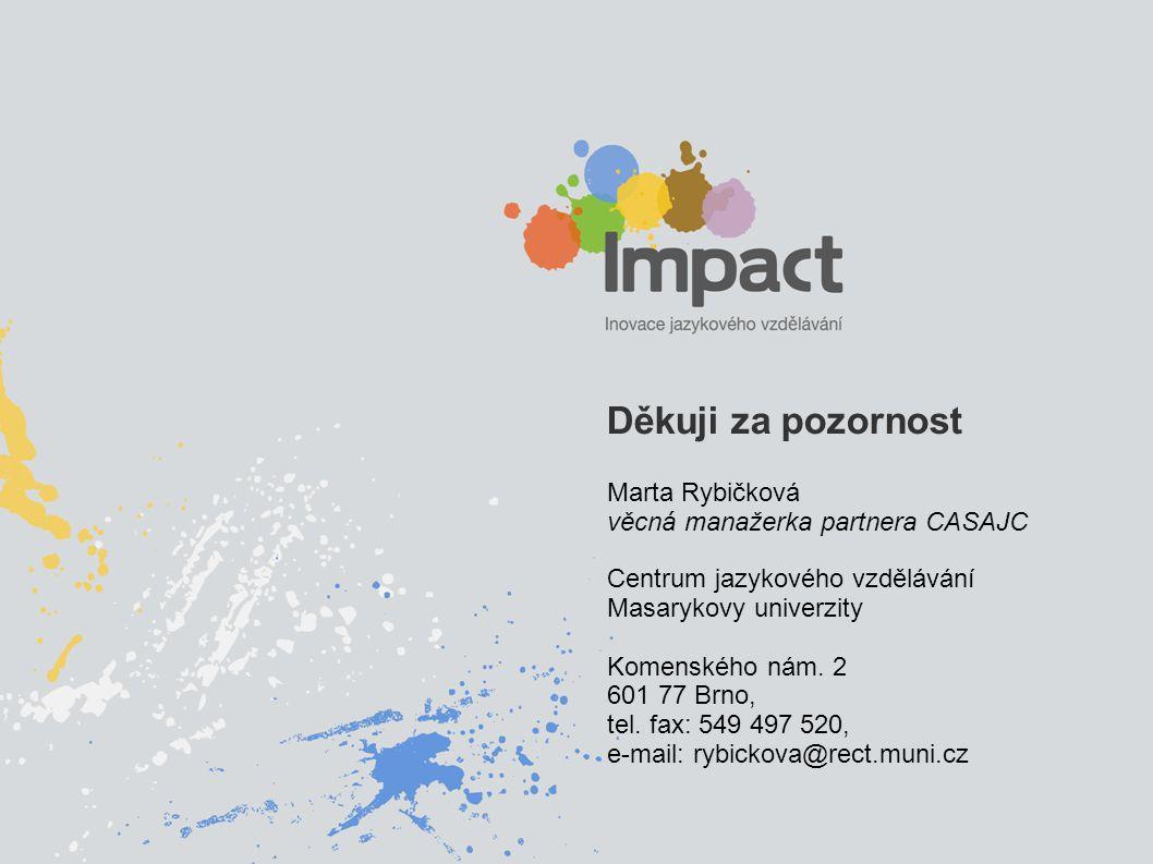 Děkuji za pozornost Marta Rybičková věcná manažerka partnera CASAJC Centrum jazykového vzdělávání Masarykovy univerzity Komenského nám. 2 601 77 Brno,
