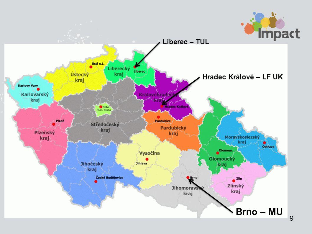 9 Brno – MU Hradec Králové – LF UK Liberec – TUL