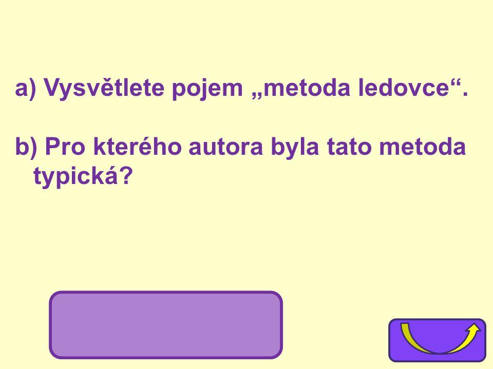 """a) Vysvětlete pojem """"metoda ledovce"""". b) Pro kterého autora byla tato metoda typická? b) E. Hemingway"""